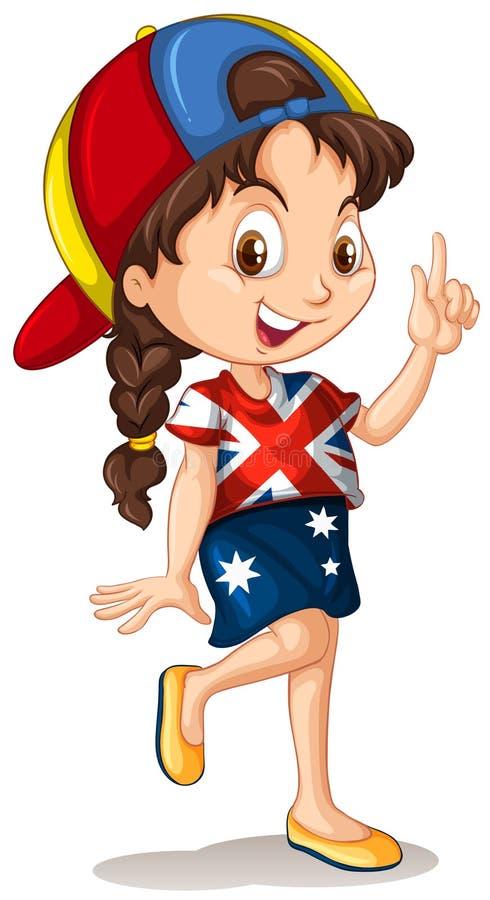 Engelsk flicka som pekar fingret vektor illustrationer