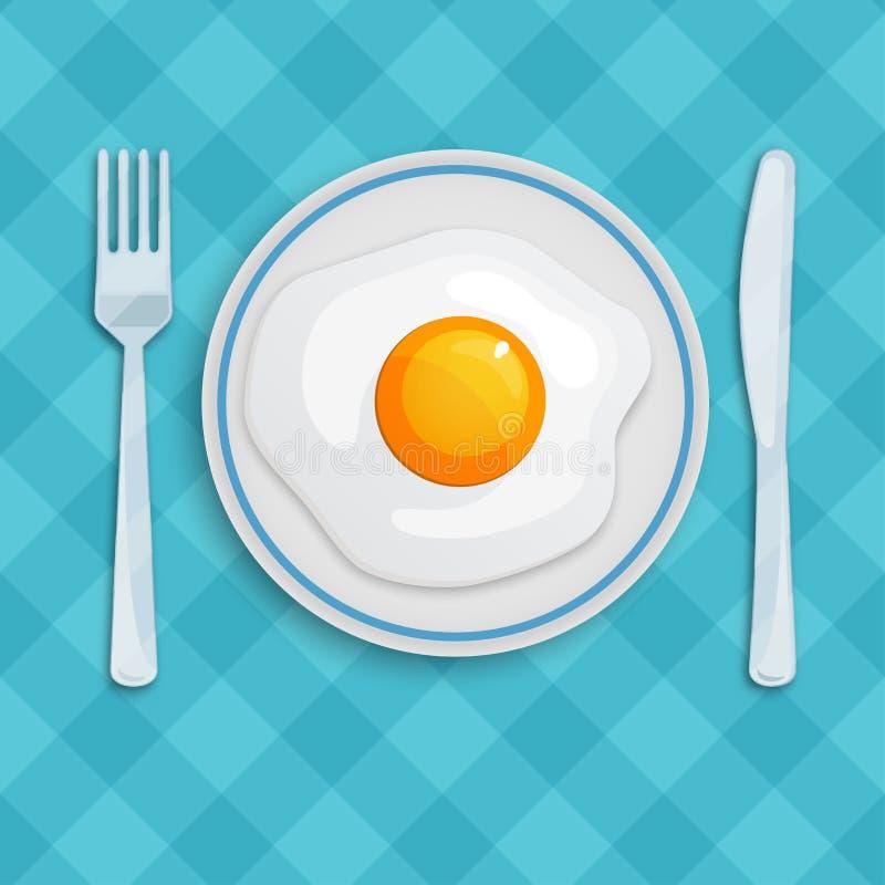 Engelsk frukost med den stekte ägg, kniven och gaffeln på en rutig bordduk den antika koppen för affärskaffeavtalet danade för pe royaltyfri illustrationer