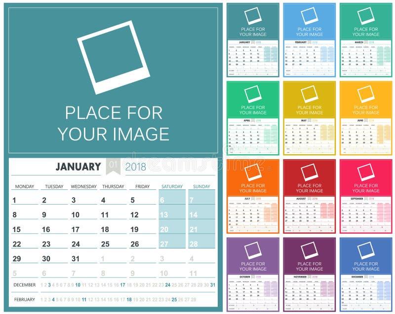 Engelsk kalender 2018 royaltyfri illustrationer