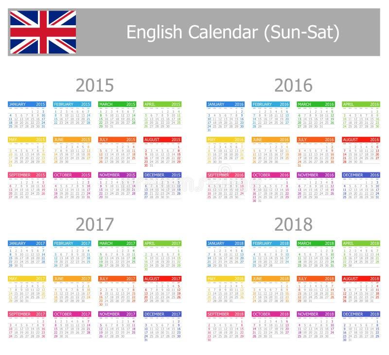 Engelsk kalender 2015-2018 för typ-1 Sol-Sat royaltyfri illustrationer
