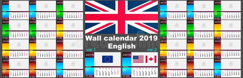 engelsk kalender för vägg 2019 Två mallar för ISO 8601 för Europa och USA Kanada med att numrera för vecka vektor stock illustrationer
