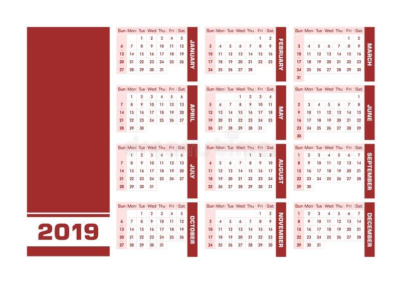 Engelsk kalender röda 2019 royaltyfri illustrationer