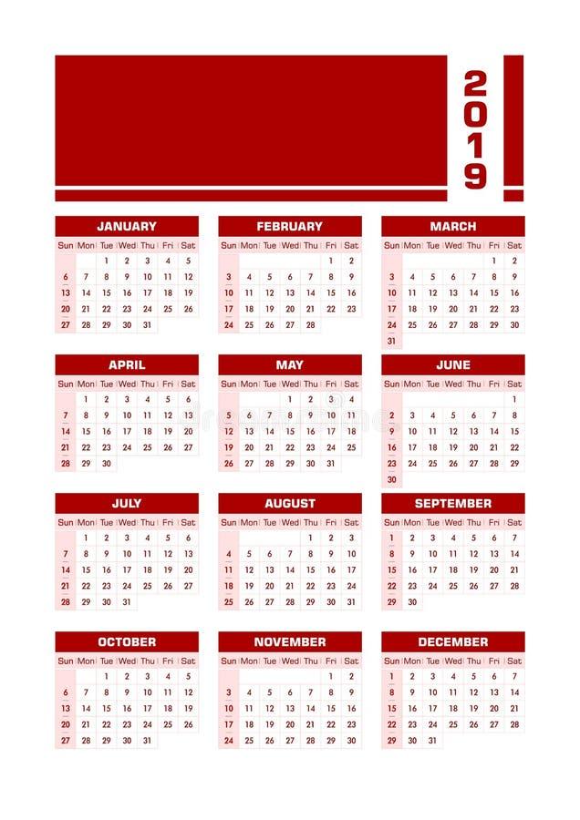 Engelsk kalender röda 2019 stock illustrationer