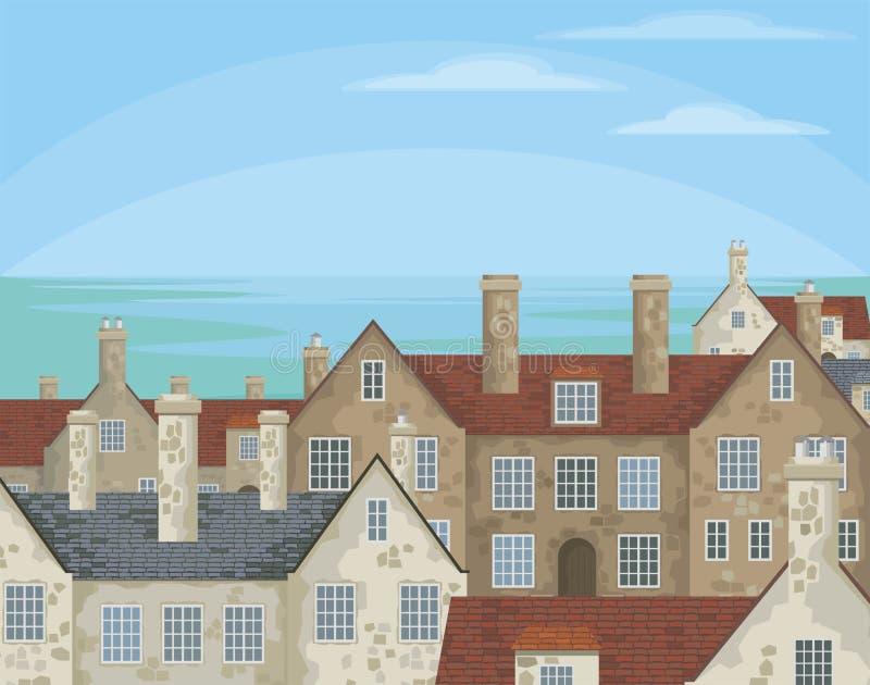 Engelsk kust- by stock illustrationer