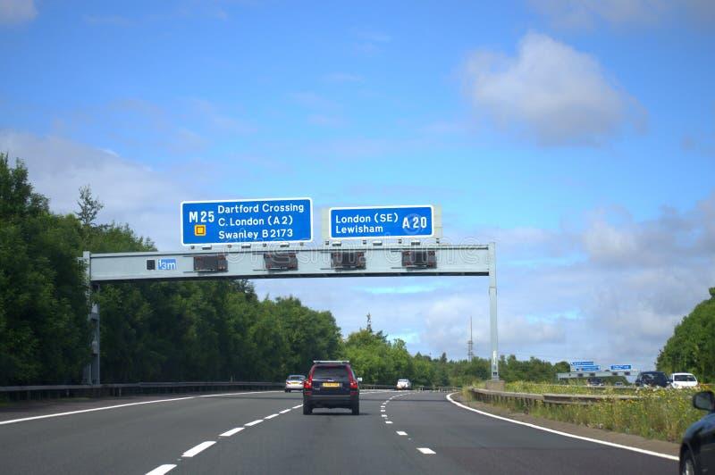 Engelsk motorway M20 royaltyfri foto