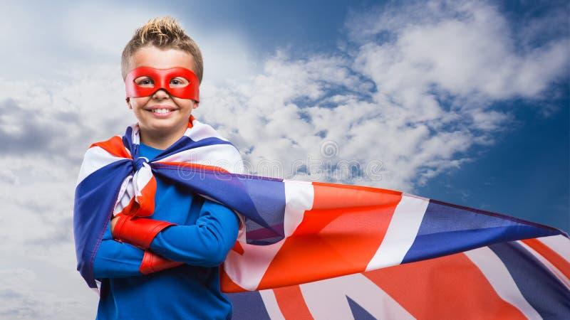 Engelsk superhero med maskeringen royaltyfria bilder