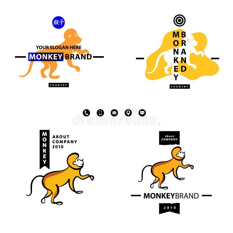Engelska översätter hieroglyfapan Affärslogotypen ställde in Templ vektor illustrationer