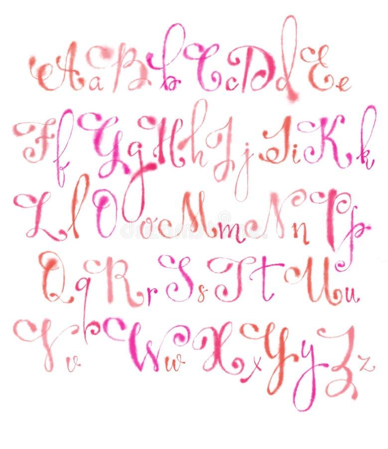 Engelska bokstäver i rosa vattenfärgkalligrafi stock illustrationer