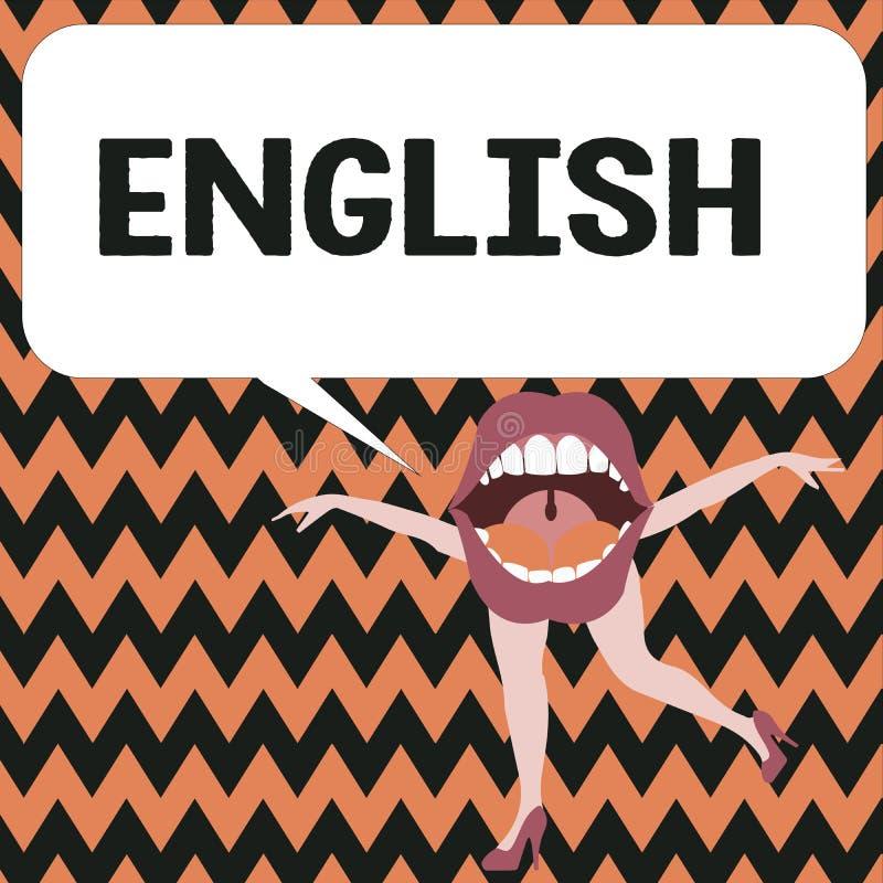 Engelska för ordhandstiltext Affärsidé för släkt med grupp för litteratur för kultur för England visningspråk brittisk stock illustrationer