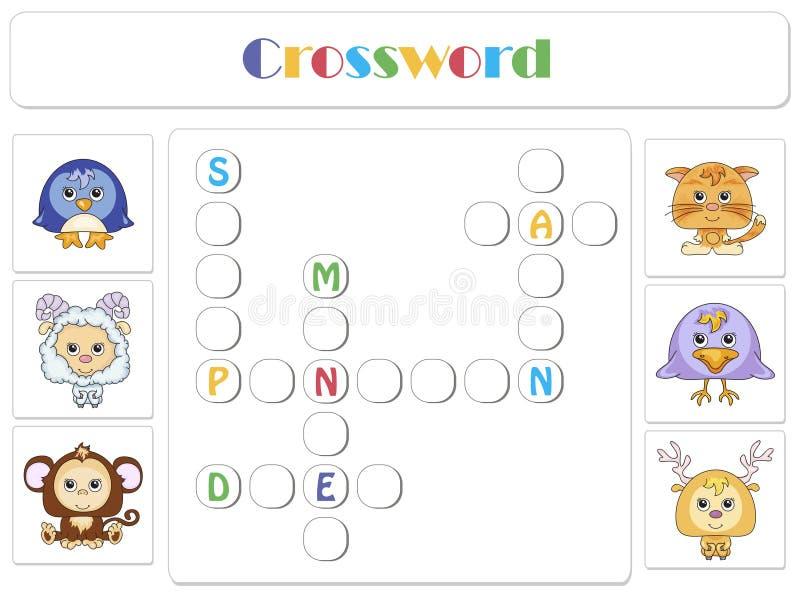 Engelska för ungar Djurkorsord stock illustrationer