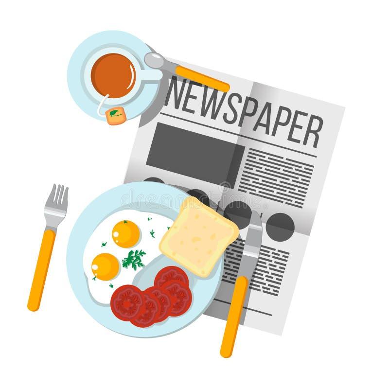 Engelska frukosten förvanskade ägg med bästa sikt för bacon och för te Ne stock illustrationer