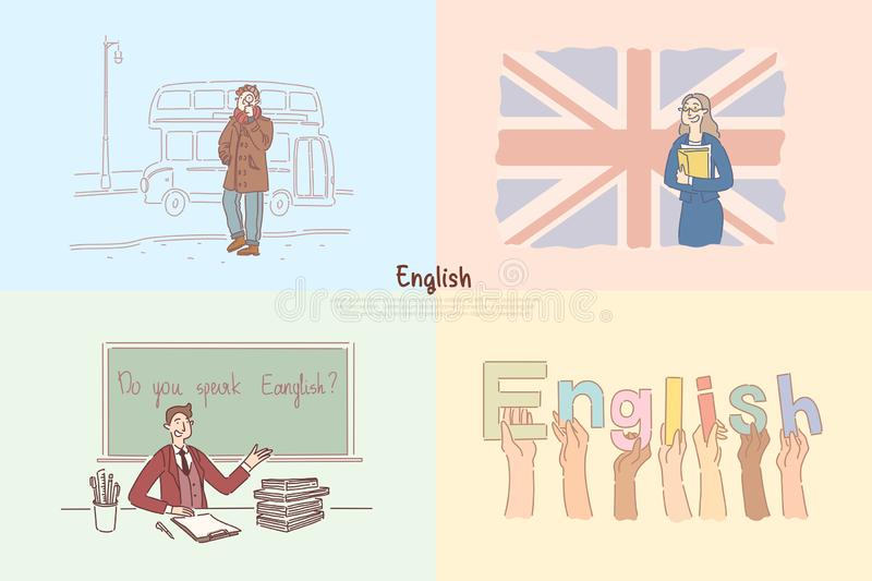 Engelska grupper, den Storbritannien sighten turnerar, utfärden för barn, baner för studentutbytesprogram royaltyfri illustrationer