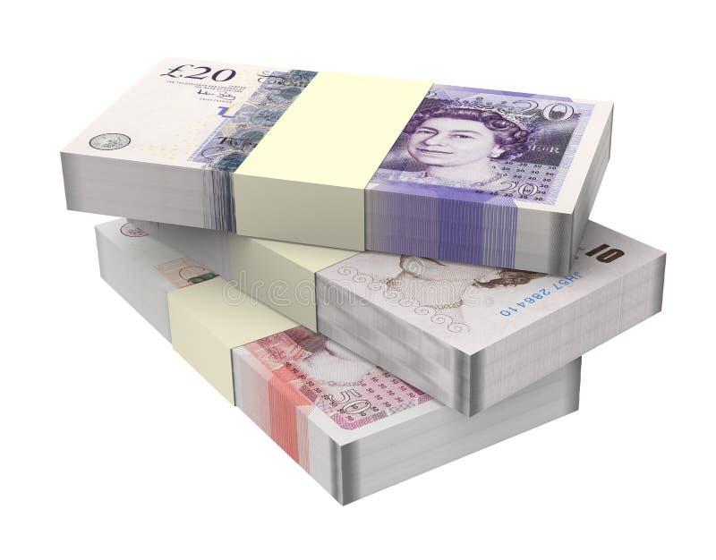 Engelska pengar som isoleras på vit bakgrund. stock illustrationer