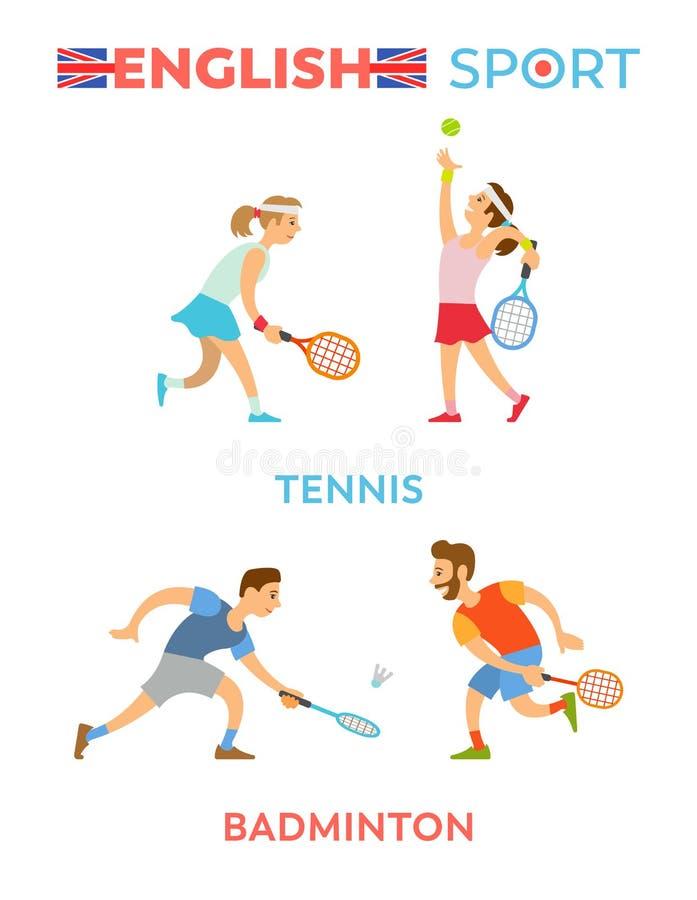 Engelska sport, pojkar och flickor som spelar tennisuppsättningen stock illustrationer