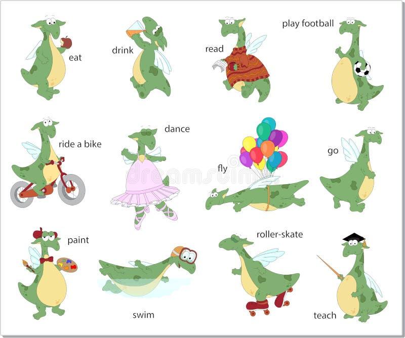 Engelskaverber för grön drake också vektor för coreldrawillustration vektor illustrationer