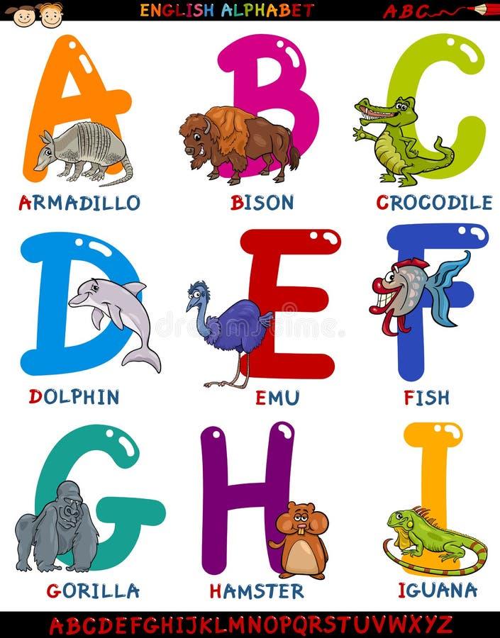 Engelskt alfabet för tecknad film med djur royaltyfri illustrationer