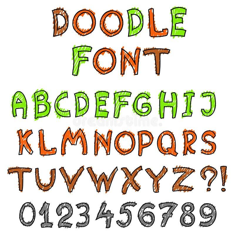 Engelskt alfabet i klotterstil royaltyfri illustrationer