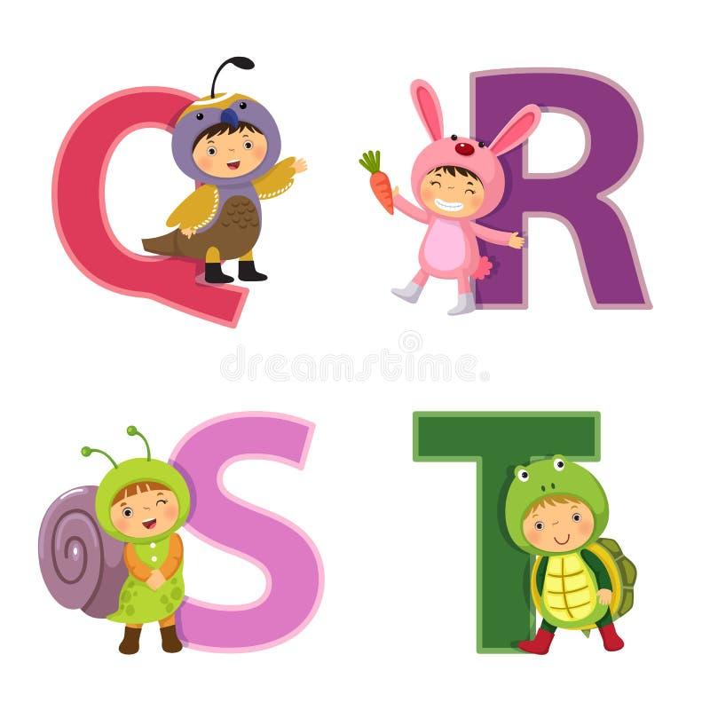 Engelskt alfabet med ungar i djur dräkt, q- till T-bokstäver stock illustrationer