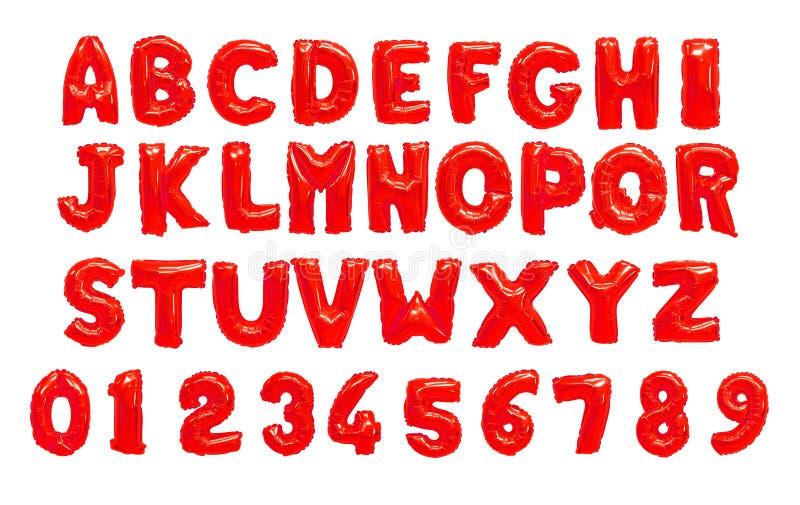 Engelskt alfabet och tal från röda ballonger arkivbilder