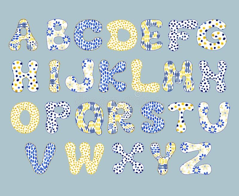 Engelskt alfabet som isoleras på en vit bakgrund, i en elegant ram som är handskriven grupper som tecknar spolning f?r vattenf?rg royaltyfri illustrationer