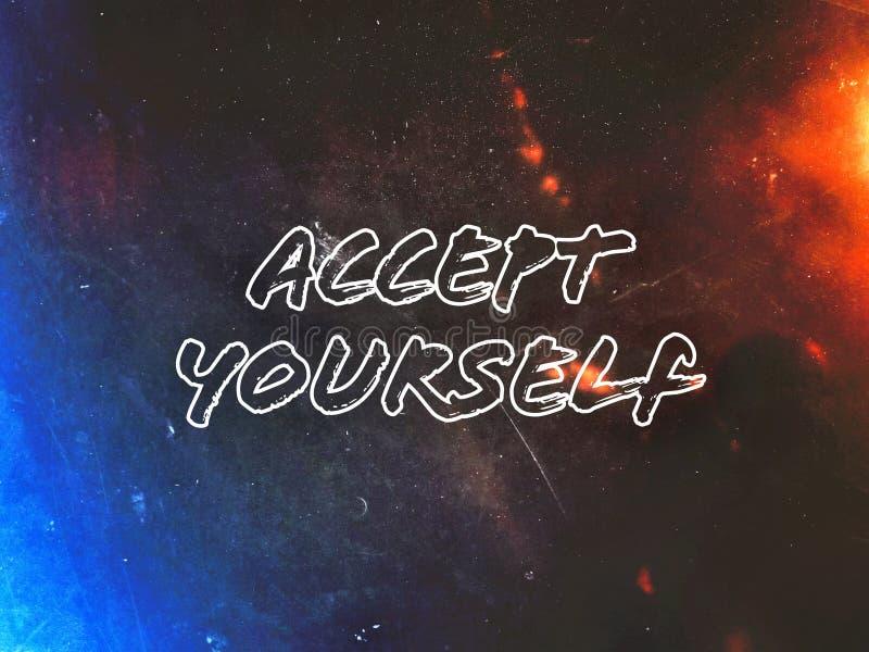 Engelskt ord att acceptera din själv på den härliga svarta och blåa ljusa bakgrunden royaltyfria foton