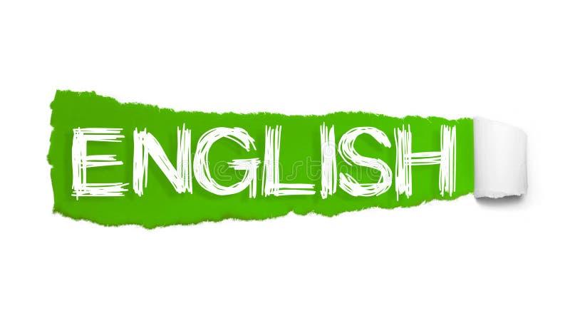 ENGELSKT ord som är skriftligt under det krullade stycket av grönt sönderrivet papper stock illustrationer