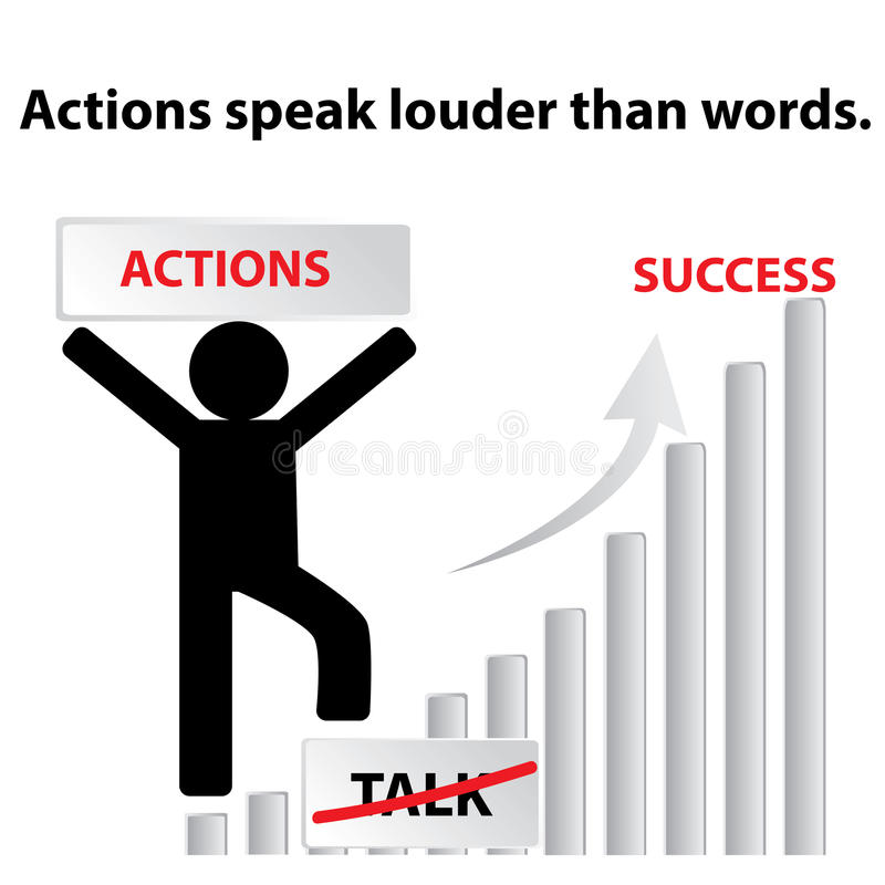 Engelskt ordspråk: Handlingar talar mer hög än ord royaltyfri illustrationer