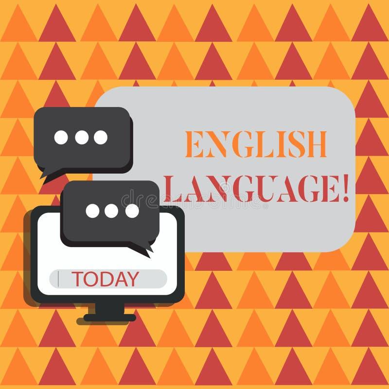 Engelskt språk för ordhandstiltext Affärsidé för tredjedel talad infödd lang i värld efter kinesiskt och spanjor stock illustrationer