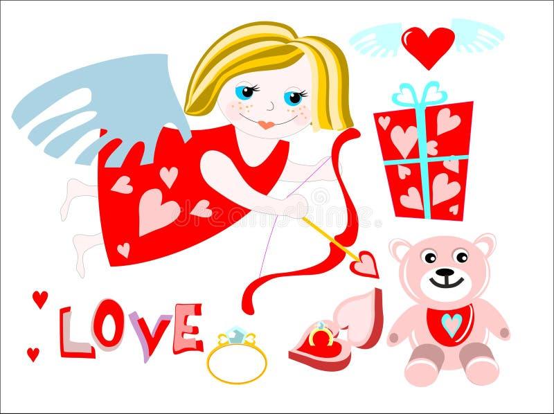 Engelsmädchen mit Valentinsgrußgeschenk stockfoto