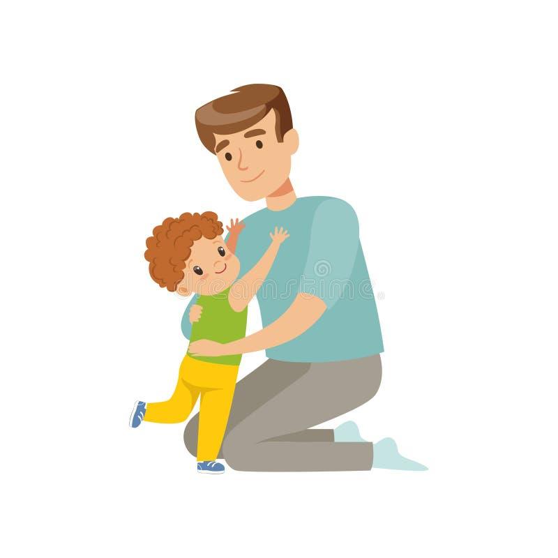 Engendre el abarcamiento de su hijo, papá que abraza a su niño, ejemplo feliz del vector del concepto del parenting en un fondo b ilustración del vector