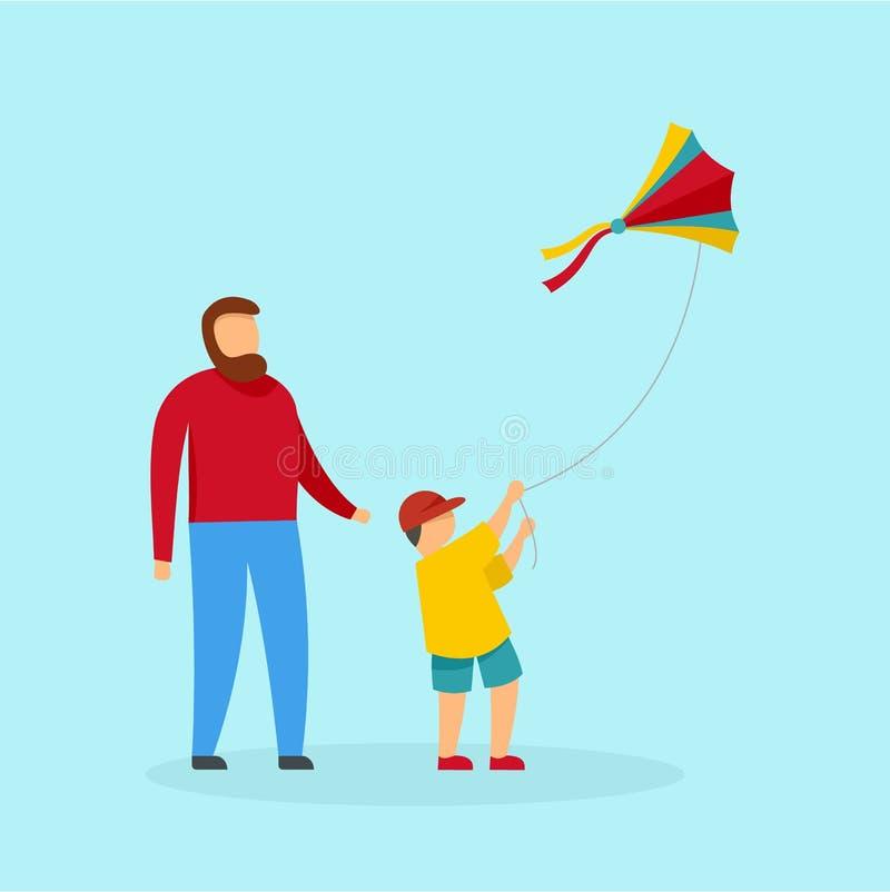 Engendre el hijo y el fondo de la cometa, estilo plano ilustración del vector