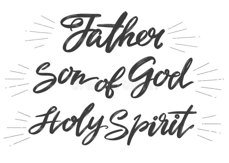 Engendre, hijo de dios, Espíritu Santo, trinidad santa, símbolo del texto de las letras de la caligrafía del vector dibujado mano libre illustration