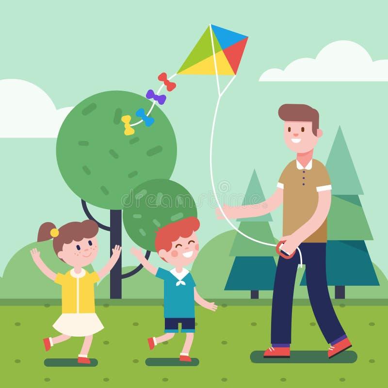 Engendre jugar con los niños y la cometa que vuela al aire libre ilustración del vector