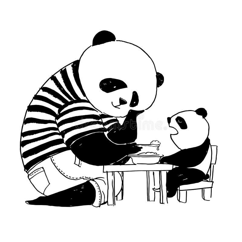 Engendre la panda en la camiseta blanco y negro que alimenta a su pequeño hijo p stock de ilustración