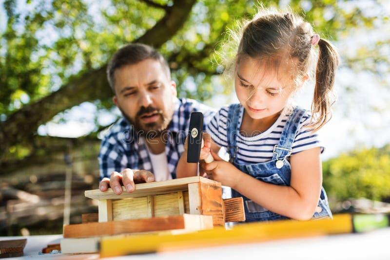Engendrez avec une petite fille dehors, en faisant la volière en bois images libres de droits