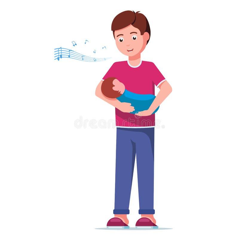 Engendrez chanter une chanson de berceuse à son bébé illustration libre de droits