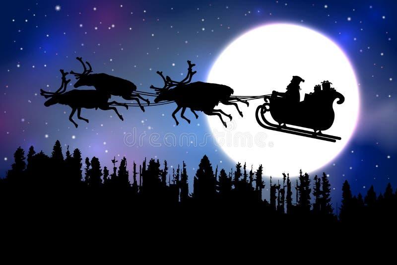 Engendrez Christmas montant son traîneau avec le renne au-dessus d'une forêt devant une pleine lune sur le fond étoilé bleu de ci illustration libre de droits