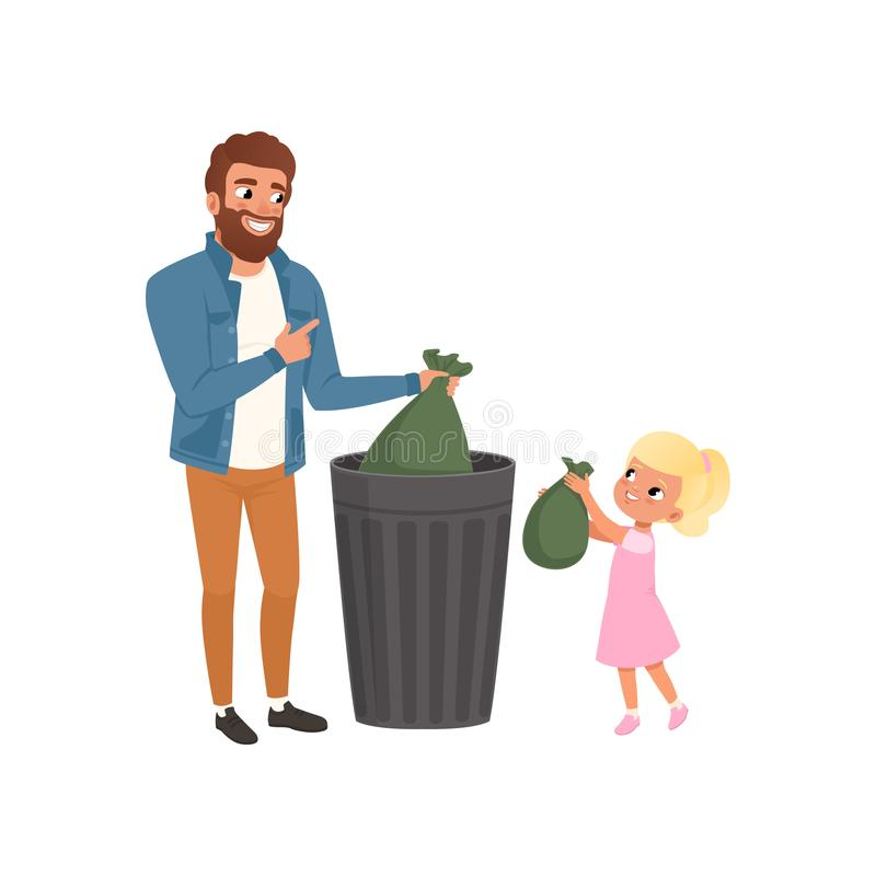 Engendrez et ses déchets de lancement de petite fille dans une poubelle dirigent ensemble l'illustration sur un fond blanc illustration libre de droits