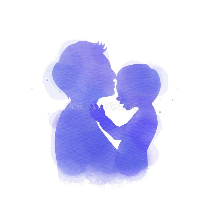 Engendrez juger la silhouette de b?b? plus l'aquarelle abstraite peinte Jour heureux du ` s de p?re Peinture d'art de Digital Ill illustration de vecteur