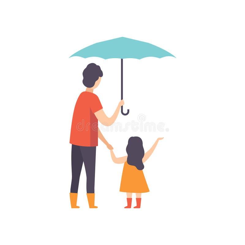 Engendrez la marche avec sa petite fille sous un parapluie, papa prenant soin de son illustration de vecteur d'enfant sur un blan illustration de vecteur