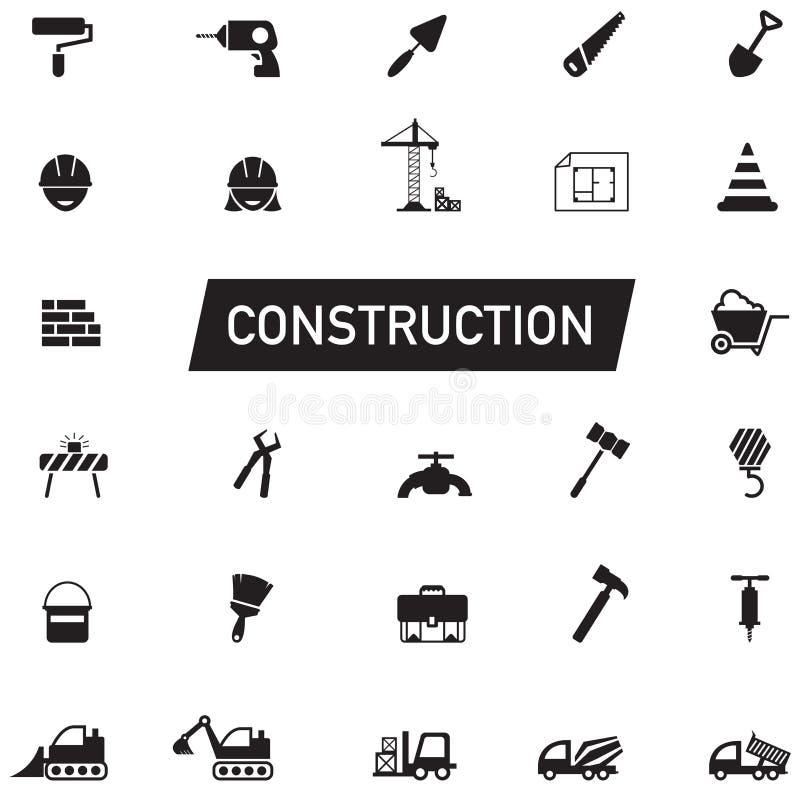 Engenharia civil da silhueta preto e branco, trabalho da manutenção, ilustração stock