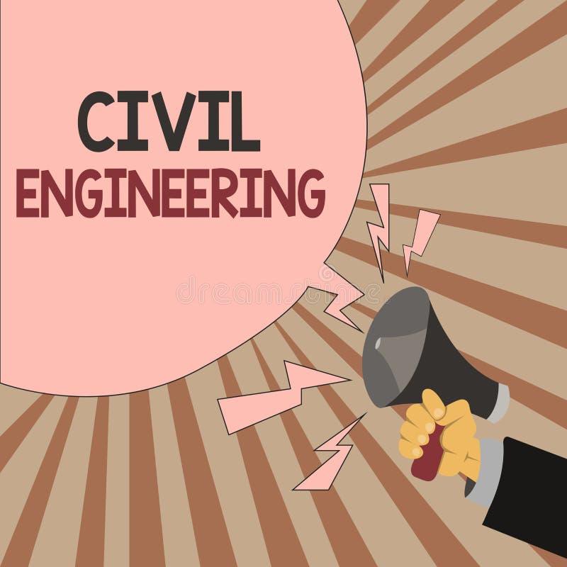 Engenharia civil do texto da escrita da palavra O conceito do negócio para a construção do projeto de planeamento das estradas co ilustração do vetor