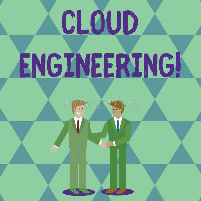 Engenharia da nuvem do texto da escrita Aplicação do significado do conceito de projetar disciplinas para nublar-se computando do ilustração do vetor