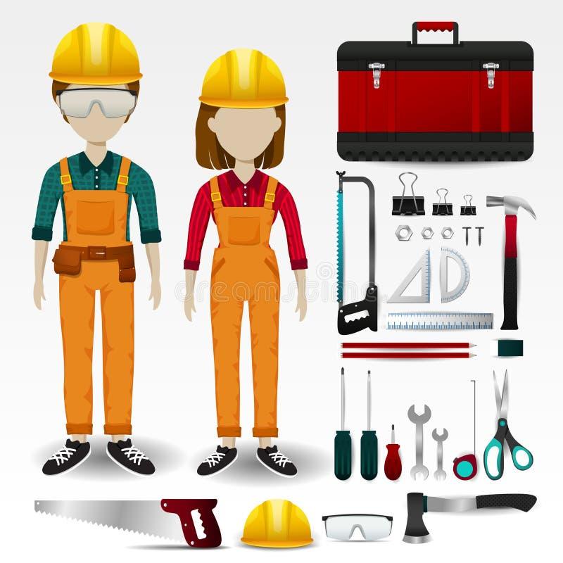 Engenharia de campo ou roupa uniforme do técnico, estacionária e ilustração royalty free