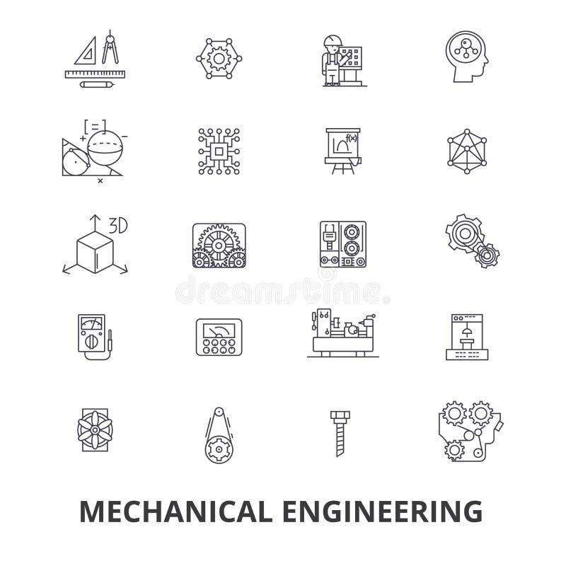 Engenharia mecânica, mecânico, bonde, engrenagens, eletrônicas, linha ícones do mecânico de carro Cursos editáveis Projeto liso ilustração do vetor