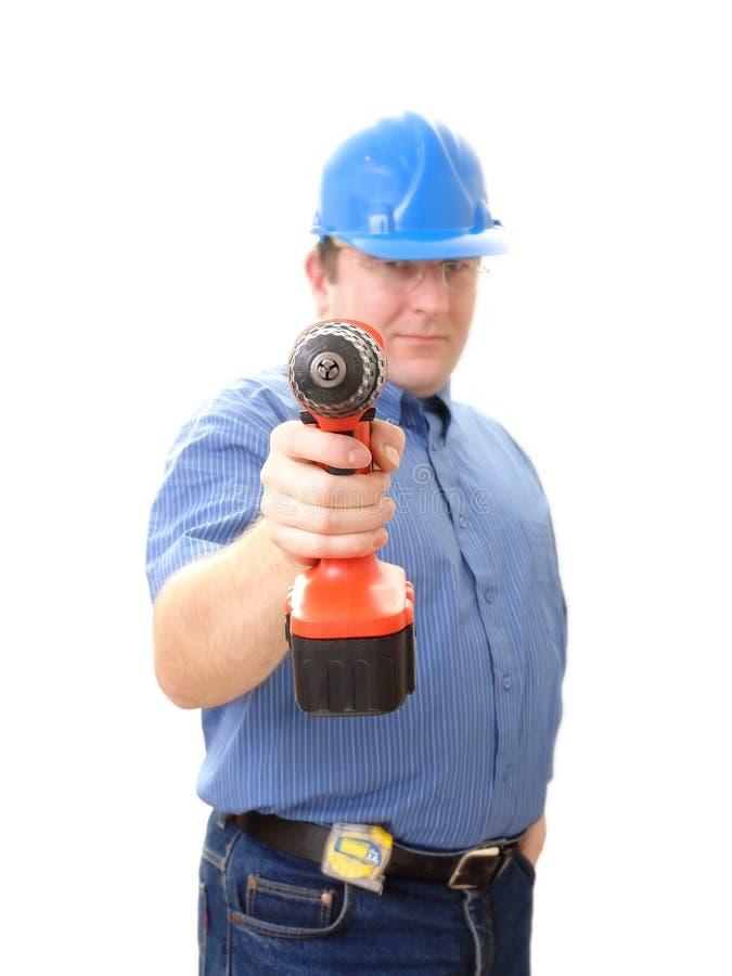 Engenheiro civil com perfurador foto de stock