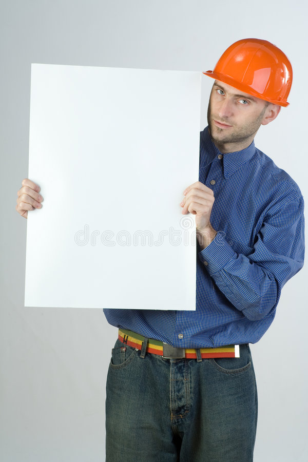 Engenheiro civil e sinal em branco imagem de stock royalty free