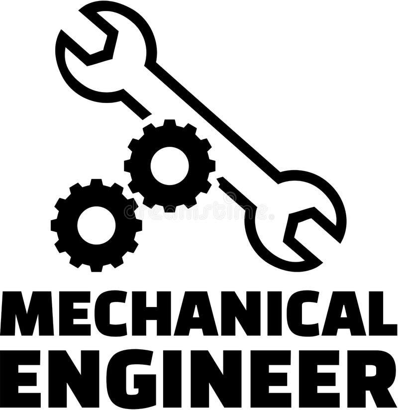 Engenheiro mecânico com rodas e chave de engrenagem ilustração stock