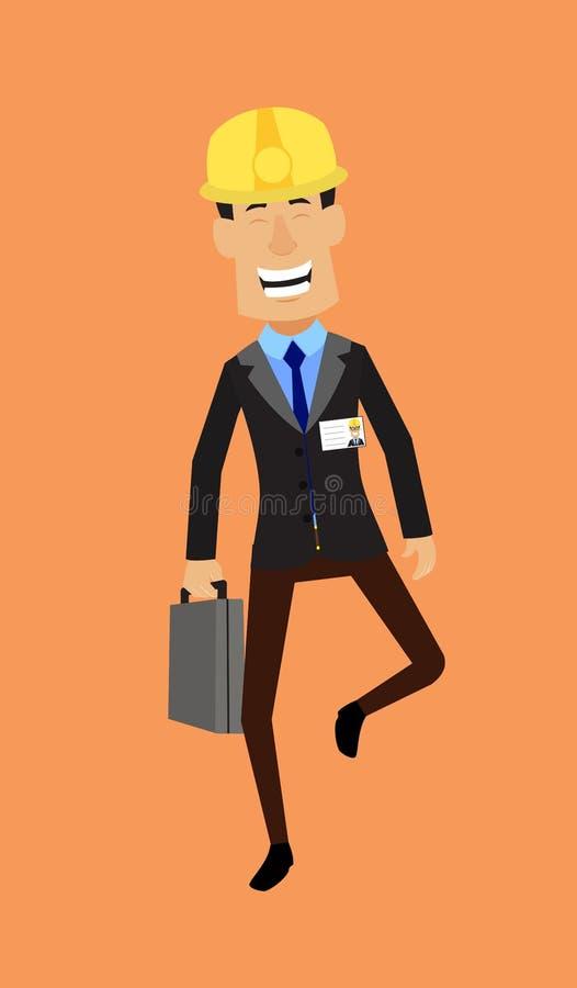 Engenheiro Técnico Trabalhador - Rosto Cheerful com a Mala de Detenção ilustração stock