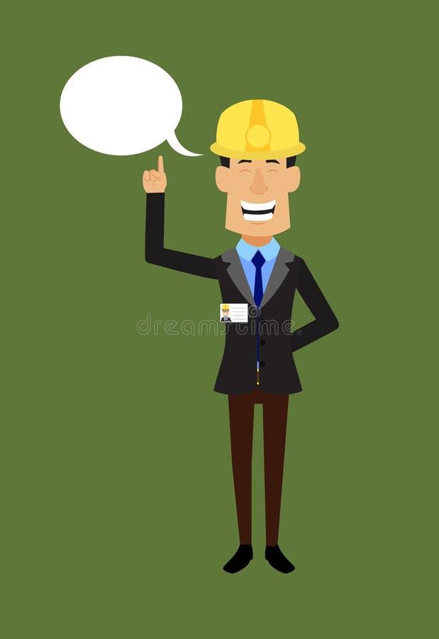 Engenheiro Técnico Trabalhador - Sorrir e Apontar para a Bolha de Voz ilustração royalty free